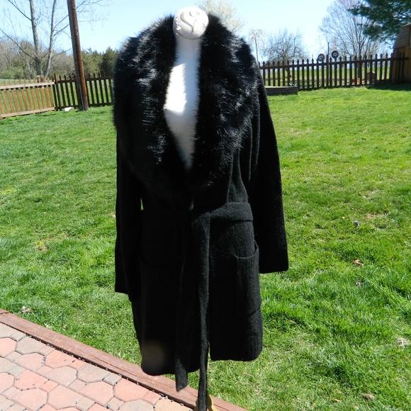 bbe2ed92e4e Torrid Black Fur Collar Sweater Coat 1 Nwt